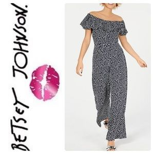 BETSEY JOHNSON AFTER DARK DOTTED JUMPSUIT BLACK